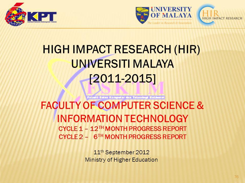 HIGH IMPACT RESEARCH (HIR) UNIVERSITI MALAYA [2011-2015]